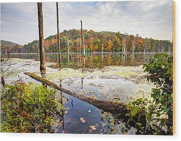 Autumn On Monksville Reservoir - Long Pond Ironworks Wood Print by Gary Heller