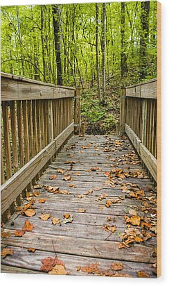 Autumn On The Bridge Wood Print