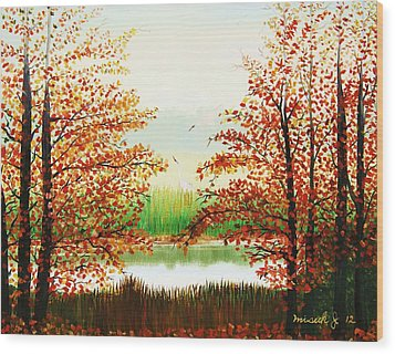 Autumn On The Ema River Estonia Wood Print