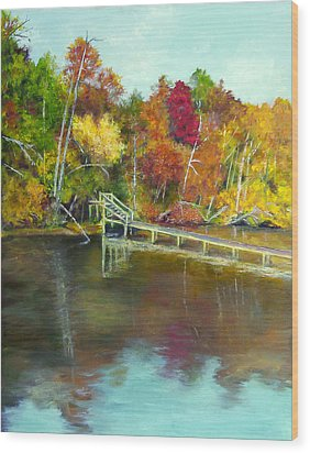 Wood Print featuring the painting Autumn On The James by Sandra Nardone