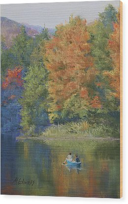 Autumn On The Lake Wood Print by Marna Edwards Flavell