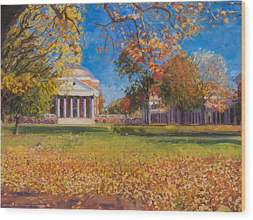 Autumn On The Lawn Wood Print