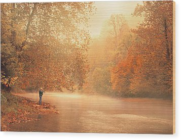 Autumn On The River Wood Print by Dorothy Walker