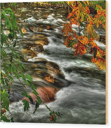 Autumn On The River Wood Print by Randy Hall
