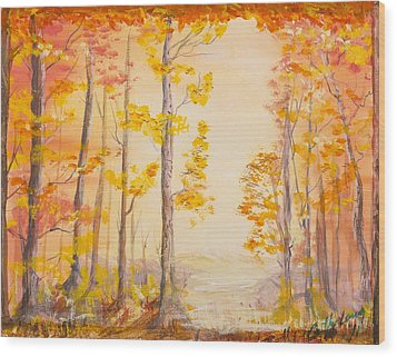 Wood Print featuring the painting Autumn Path by Cathy Long