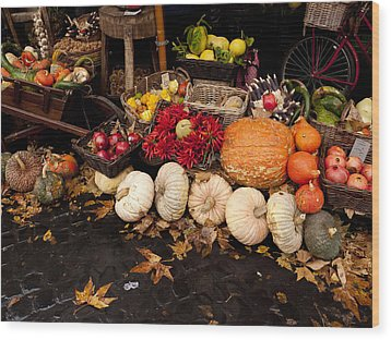 Autumn Produce Wood Print by Rae Tucker