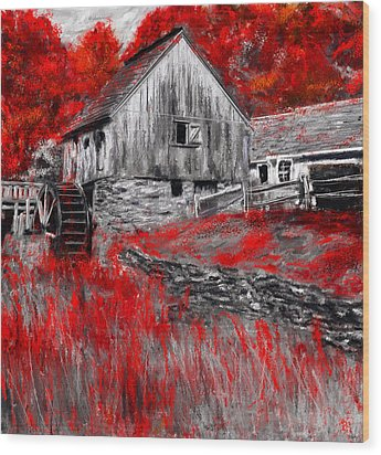 Autumn Promise- Red And Gray Art Wood Print