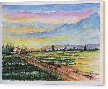 Wood Print featuring the painting Autumn Rain #2 by Richard Benson