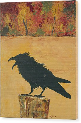 Autumn Raven Wood Print by Carolyn Doe