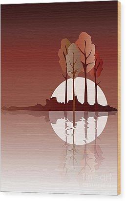 Autumn Reflected Wood Print by Jane Rix
