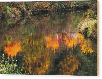Autumn Reflection Wood Print by Crystal Hoeveler