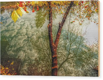 Wood Print featuring the photograph Autumn Reflection  by Peggy Franz