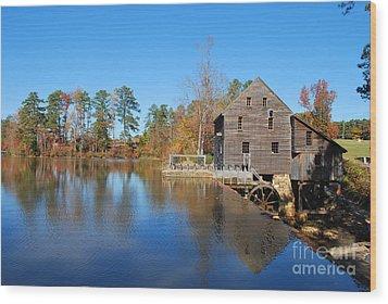 Autumn Reflections At Yates Mill Wood Print by Bob Sample