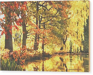 Wood Print featuring the painting Autumn Reflections by Sophia Schmierer