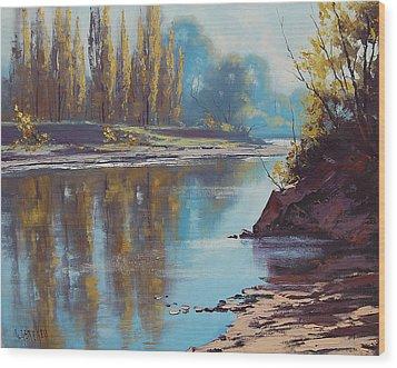 Autumn Reflections Tumut River Wood Print by Graham Gercken