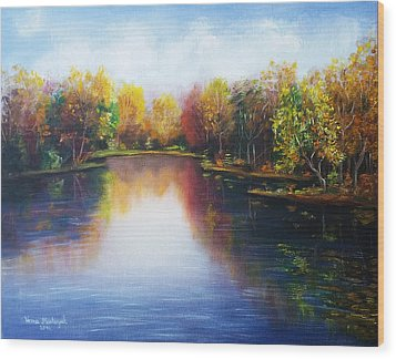 Wood Print featuring the painting Autumn Reflections  by Vesna Martinjak