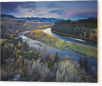 Autumn River Wood Print by Leland D Howard