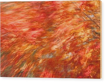 Wood Print featuring the photograph Autumn River Of Flame by Jeff Folger