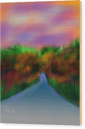 Autumn Road Wood Print by Frank Bright