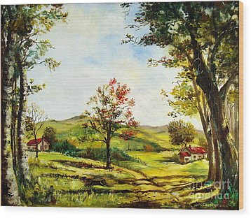 Wood Print featuring the painting Autumn Road by Lee Piper