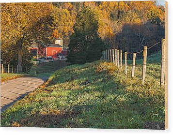 Autumn Road Morning Wood Print by Bill Wakeley
