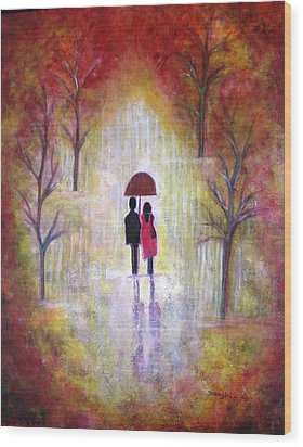 Autumn Romance Wood Print