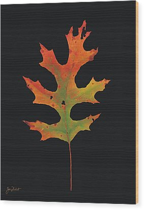 Autumn Scarlet Oak Leaf Wood Print