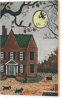Autumn Scotties Wood Print by Margaryta Yermolayeva