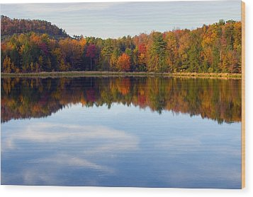 Autumn Shoreline Reflection Wood Print by Gene Walls