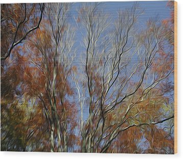 Wood Print featuring the digital art Autumn Sky by Kelvin Booker