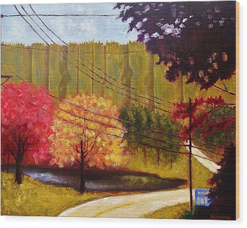 Wood Print featuring the painting Autumn Slopes by Jason Williamson