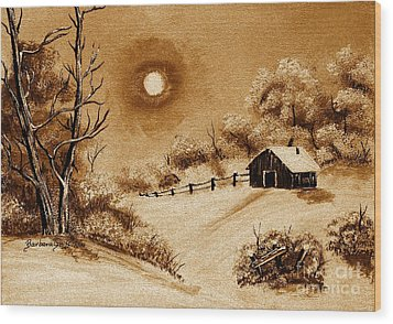 Autumn Snow Wood Print by Barbara Griffin