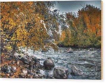 Autumn Snow Wood Print by Bob Hislop
