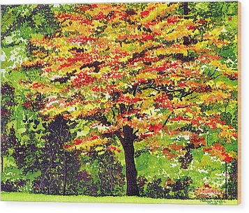 Wood Print featuring the painting Autumn Splendor by Patricia Griffin Brett