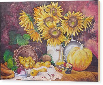 Autumn Still Life Wood Print by Nina Mitkova