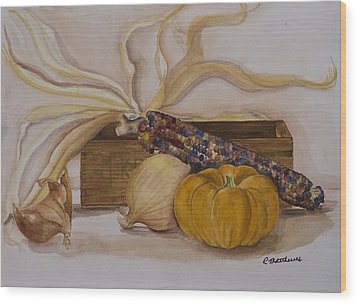 Autumn Still Life Wood Print by Rebecca Matthews