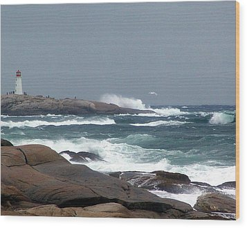 Autumn Storm At Peggy's Cove Wood Print by Janet Ashworth