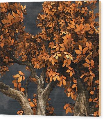 Autumn Storm Wood Print by Cynthia Decker