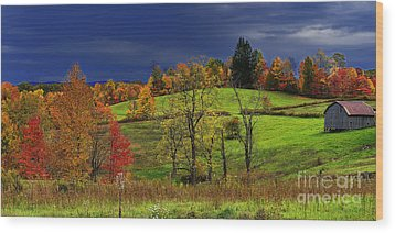 Autumn Storm Wood Print by Thomas R Fletcher