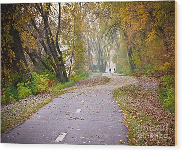 Wood Print featuring the photograph Autumn Stroll by Kari Yearous