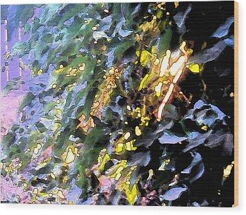 Autumn Sun On Leaves Wood Print