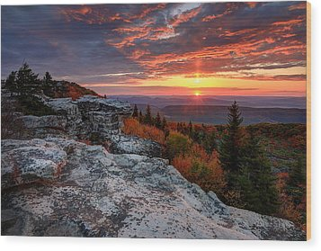 Autumn Sunrise At Dolly Sods Wood Print by Jaki Miller