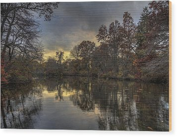 Autumn Sunset On West Brook Pond Wood Print by Steve Gravano