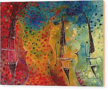 Autumn Symphony Wood Print by AmaS Art