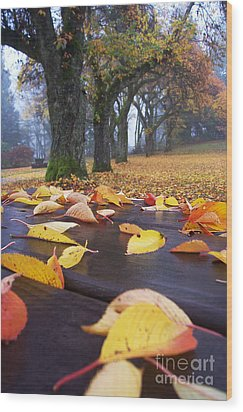 Wood Print featuring the photograph Autumn Table by Maria Janicki