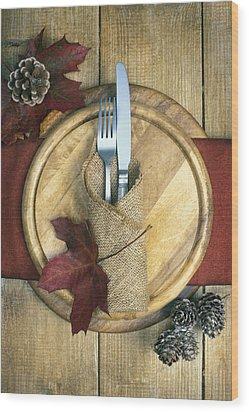 Autumn Table Setting Wood Print by Amanda Elwell