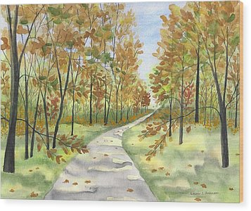 Autumn Trail Wood Print