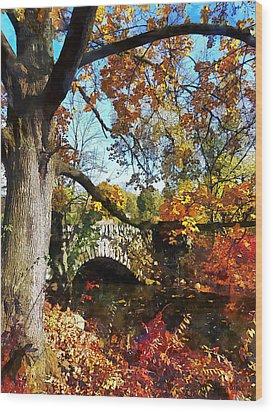 Autumn Tree By Small Stone Bridge Wood Print by Susan Savad