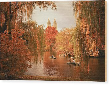 Autumn Trees - Central Park - New York City Wood Print by Vivienne Gucwa