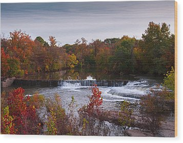 Wood Print featuring the photograph Refreshing Waterfalls Autumn Trees On The Stones River Tennessee by Jerry Cowart